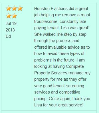 5 Star Rating for Excellent service from Houston Evictions on evicting tenants, making it easy