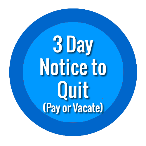 3 day notices to vacate quit eviction notice to pay or vacate